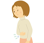 胃腸の働きが弱く便秘気味の女性のイラスト